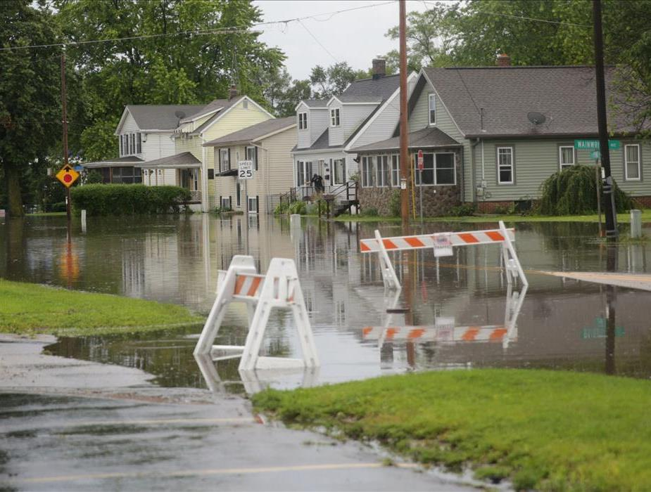 Street View of a Neighborhood with streets flooded