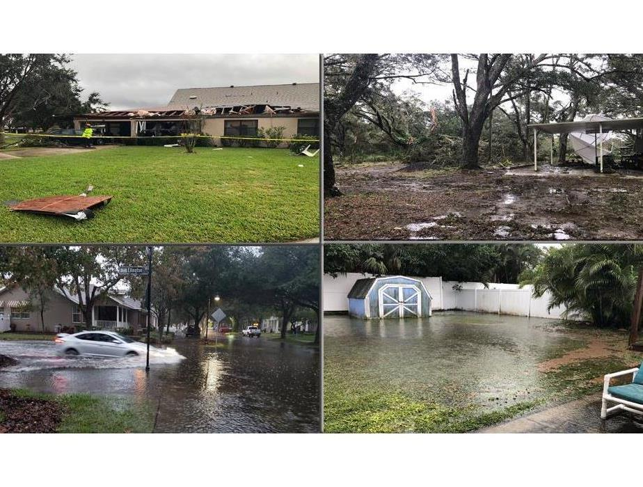 Four different scenarios of storm damage in square form, roof damage, trees out of the ground and water flooding streets/yard